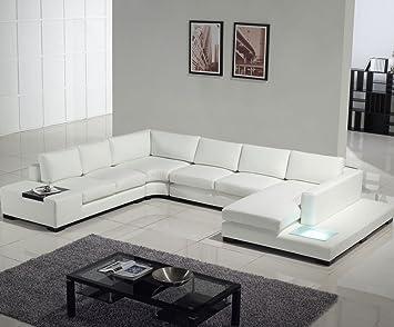 Peachy T35 White Bonded Leather Sectional Sofa Set With Light Creativecarmelina Interior Chair Design Creativecarmelinacom
