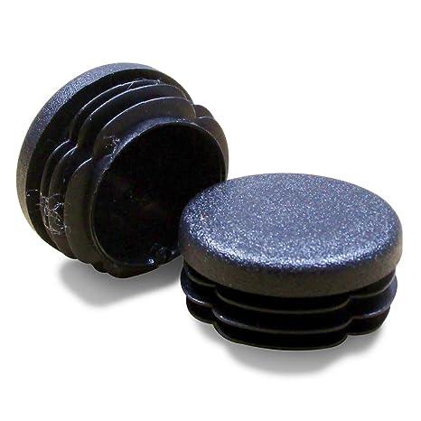 ajile - 12 piezas - Contera redonda acanalada para tubos - diámetro 16 mm - NEGRO - EPR116-M
