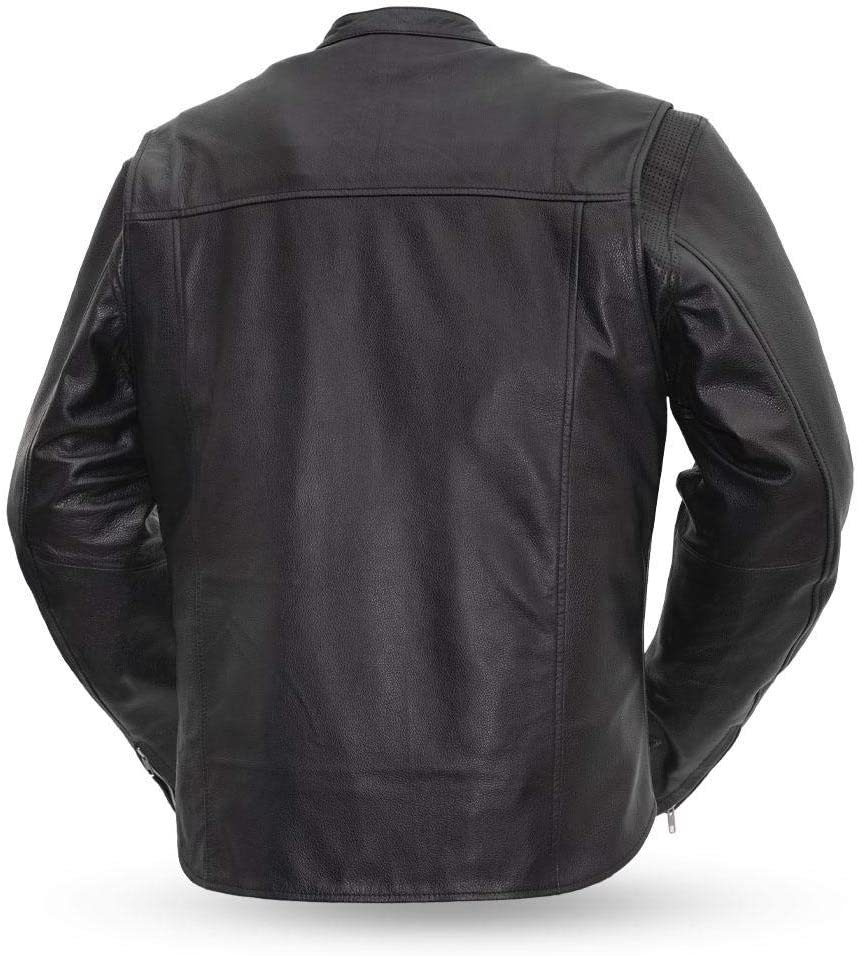 Mens Motorcycle Leather Jacket - Rocky Black, Small First MFG Co