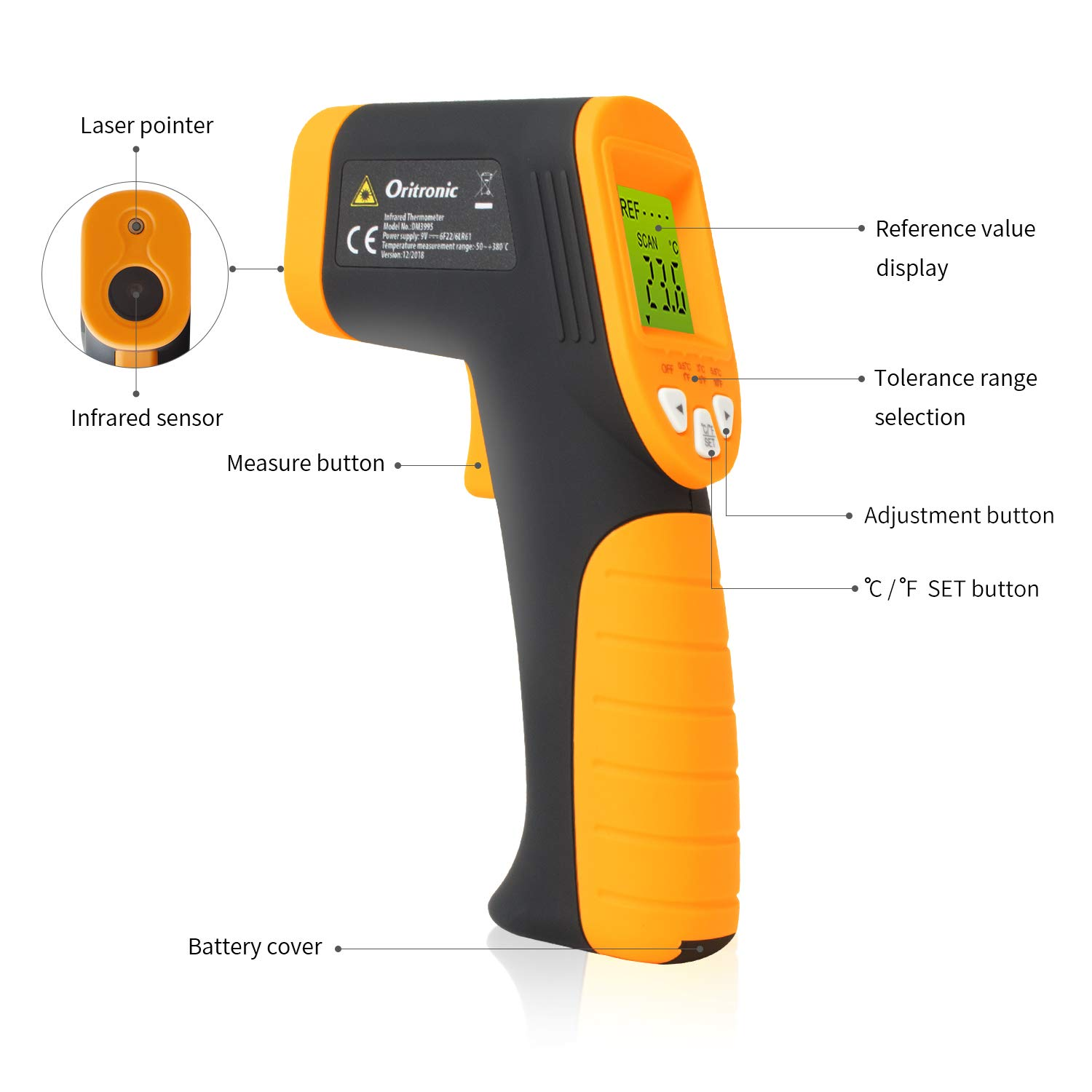 Temperature Gun,Non-Contact Digital Laser Infrared Thermometer Instant Read Thermometer -58 F to 716 F