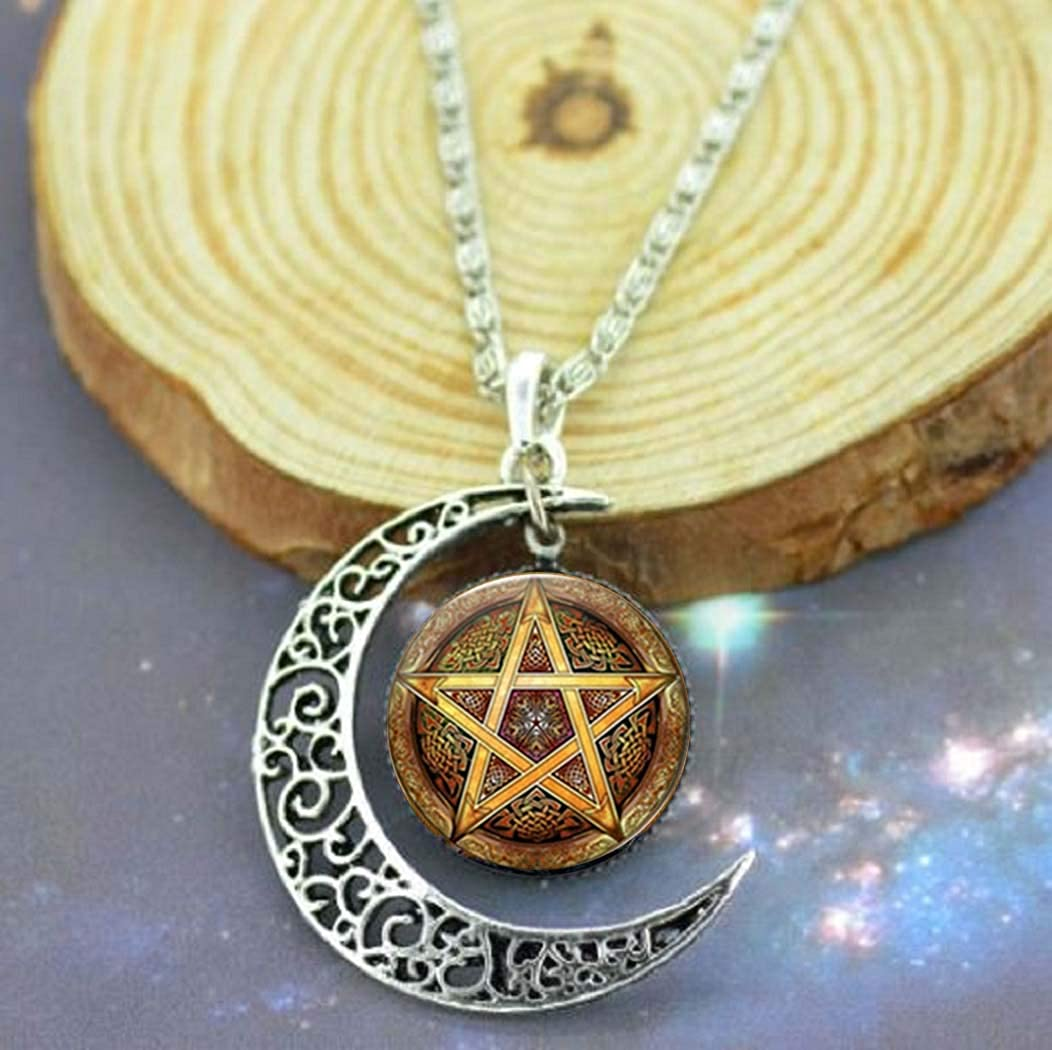 Gemingo Yellow Pentagram Necklace Crescent Moon Sterling Silver Pendant Satanic Pentacle Necklace Jewelry