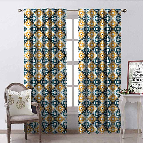 GloriaJohnson Moroccan Heat Insulation Curtain Spanish Portuguese Azulejo Inspired Abstract Natural Pattern with Leaves for Living Room or Bedroom W52 x L108 Inch Teal Marigold - Collection Bedroom Spanish Hills