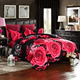 Lovelyou Red Rose Black Skin Cotton Queen Size 3d Print Bedding Set (1 Duvet Cover + 1 Bed Sheet + 2 Pillow Case)