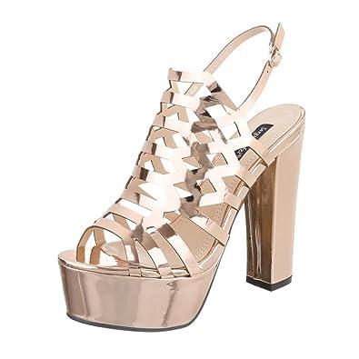 Cingant Woman Damen Sandalette/Plateausohle/Sommerschuhe/Damenschuhe/Elegante Damenschuhe/High Heels/Champagner/Gold, EU 39