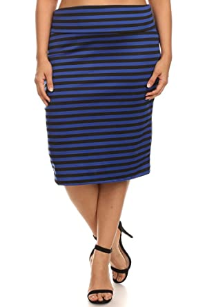 2169aa30c24f Women's Plus Size Basic Stretch Midi Pencil Skirt Office Wear MADE IN USA  at Amazon Women's Clothing store: