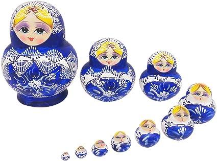 10Pcs Hand Painted Wooden Matryoshka Nesting Toys Russian Stacking Dolls