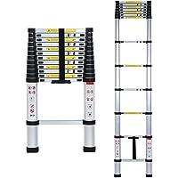 BUCKETLIST 3.8 m Telescopic Aluminium Extendable Folding Adjustable Portable Step Ladder (Black and Silver, Large)