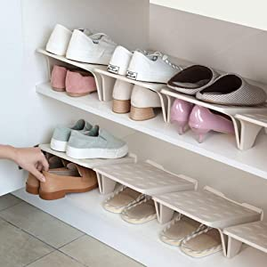 Shoe Stacker Slotz Space Saver, Shoe Racks for Closet Organization No Assembly Require, Durable Plastic Shoes Holder for Home Storage, Apricot, 4 Pack