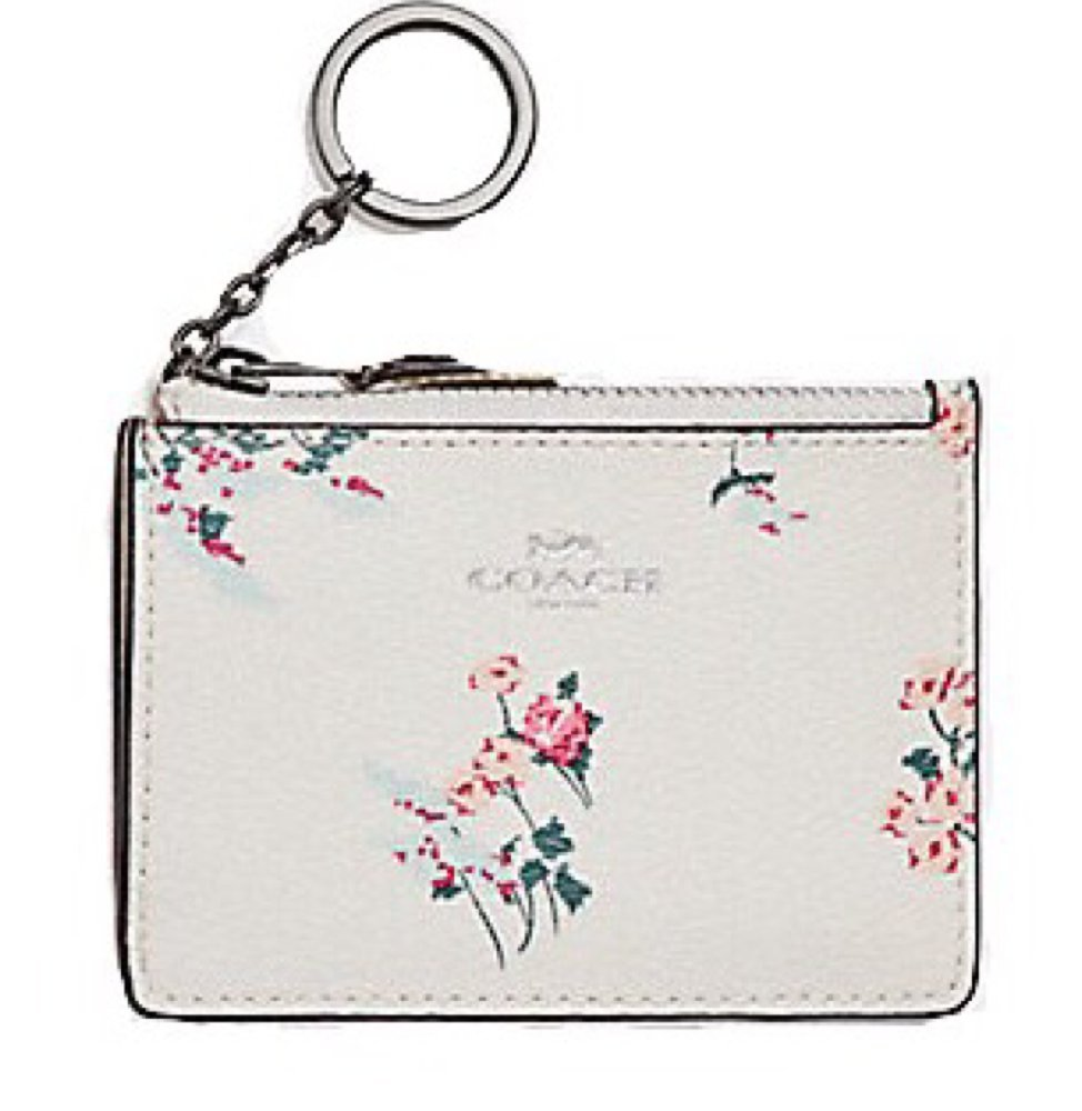 COACH Mini Skinny ID Case in Floral Print Coated Canvas . Style F26218
