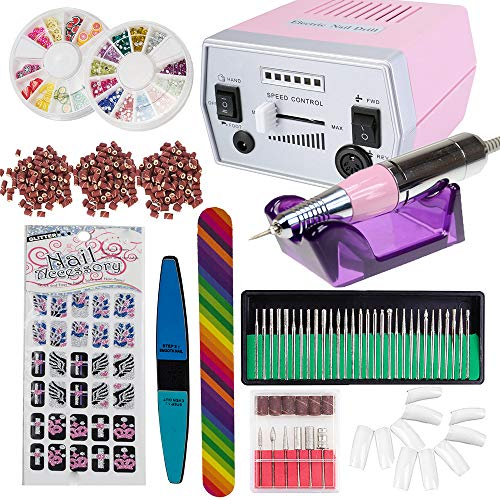 - iMeshbean Colorful Complete Professional Improved 30000 RPM Electric Nail File Drill Acrylic Pedicure Machine Bits Kit Amazing DIY Tool USA (Pink)