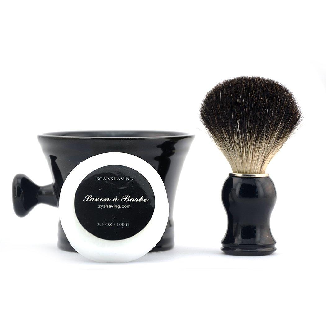 Grandslam Black Ceramic Shaving Soap Bowl Mug Cup Foaming Lather Pure Badger Hair Brush
