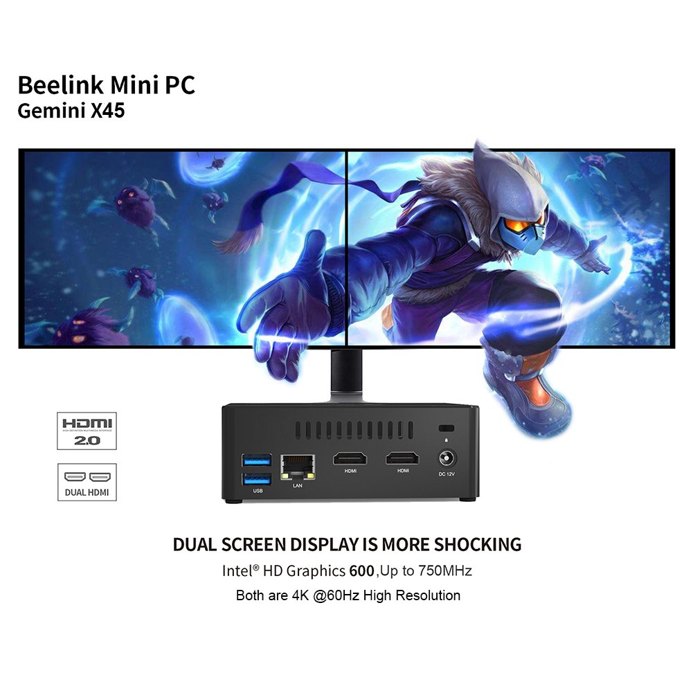 Amazon.com: Beelink X45 Mini PC with Intel Gemini Lake J4105 4K60Hz Windows 10 6GB LPDDR4/128GB SSD/Dual HDMI 2.0/Dual Wi-Fi/Gigabit Ethernet/Fan: MP3 ...