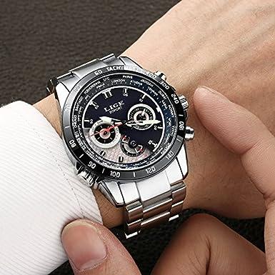 Amazon.com: Relojes de Hombre Cronógrafo De Cuarzo De Moda Para Caballero Caja de Acero Inoxidable RE0112: Watches