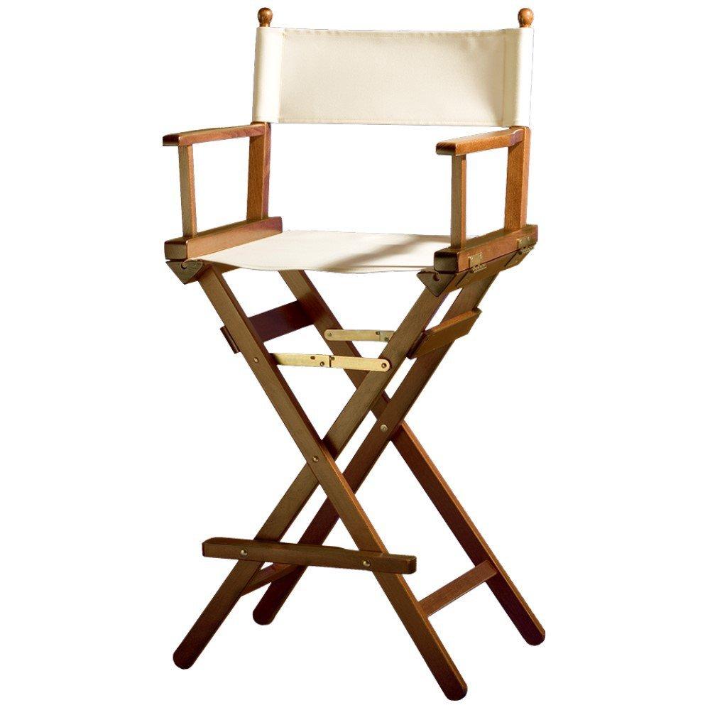 Sedia pieghevole da regista/trucco, in legno di faggio con laccatura effetto noce bordeaux Senjo-Color