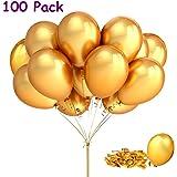 Joykey 12 pollici di palloncini d'oro per il festival del matrimonio di compleanno, Palloncino in lattice di 100 pezzi