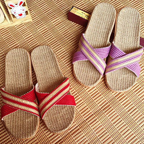 Outdoor Sandals Men Striped Women for Indoor NEAER House Summer Beach Slippers Skidproof Slippers Linen Blue x0nw4wq7v
