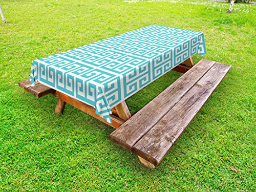Peachy Amazon Com Ambesonne Greek Key Outdoor Tablecloth Gmtry Best Dining Table And Chair Ideas Images Gmtryco