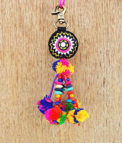 "VLiving Multicolor Thread and Bead Tassel with Pompom Handmade Boho Bag Charm Tribal Bohemian Moroccan Size 5"" or 12.5 Cms"