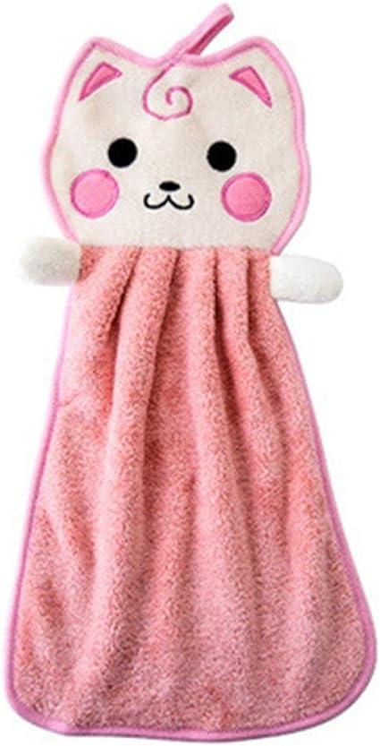 1 Pz Asciugamani da Cucina Bambini Asciutto Asciugamano Morbido Peluche Fiocco Animale Appeso Strofinare Bagno Cucina Asciugamano Asciugamano Rosa