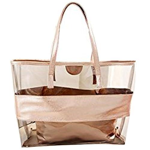 bc7d67692e4f Donalworld Beach Bag Waterproof Clear Handbag for Women plastic shoulder bag  Beige