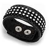 Black Leather Cuff Sparkle Bracelet for Women and Teens Adjustable 7 to 7.5 Inch