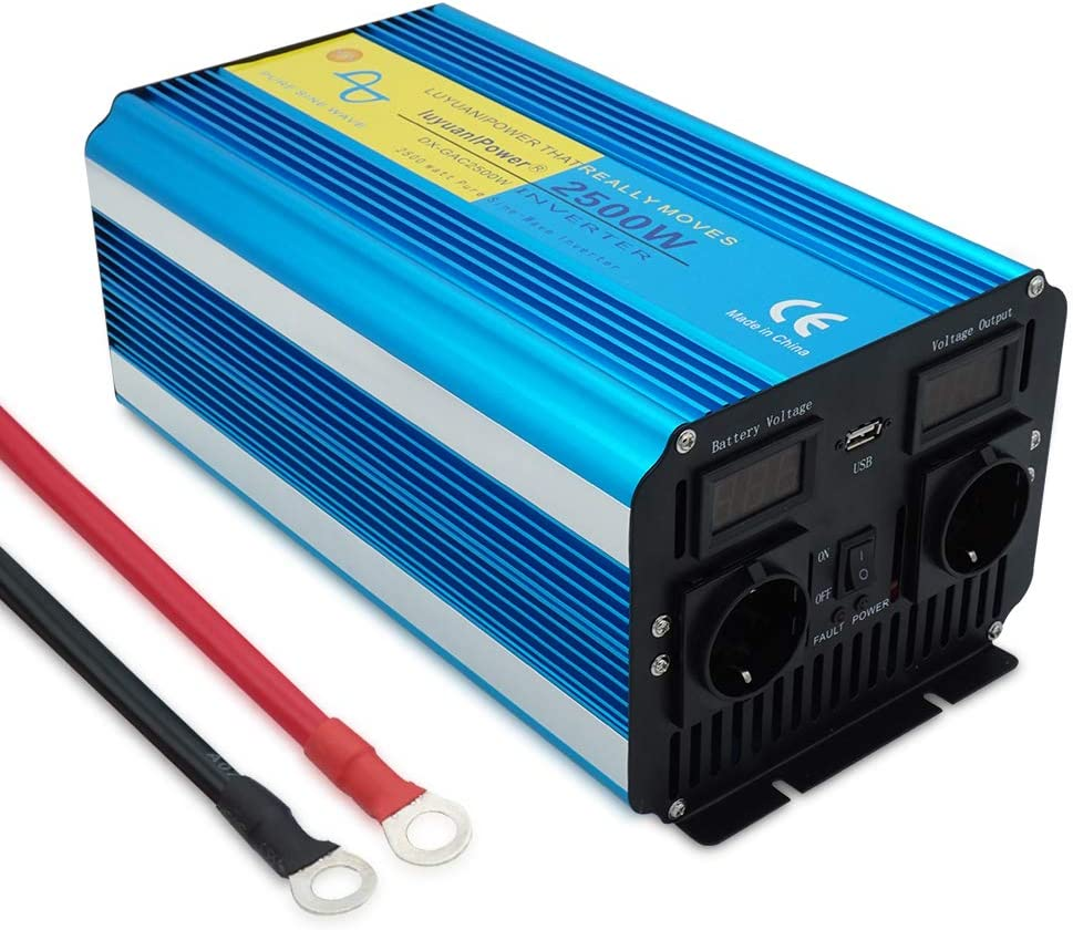 Yinleader inversor de Corriente Onda Pura 2500w 5000W Transformador De 12v A 230v convertidor USB LED 2 Enchufe para Coche Caravana cámping de Viaje