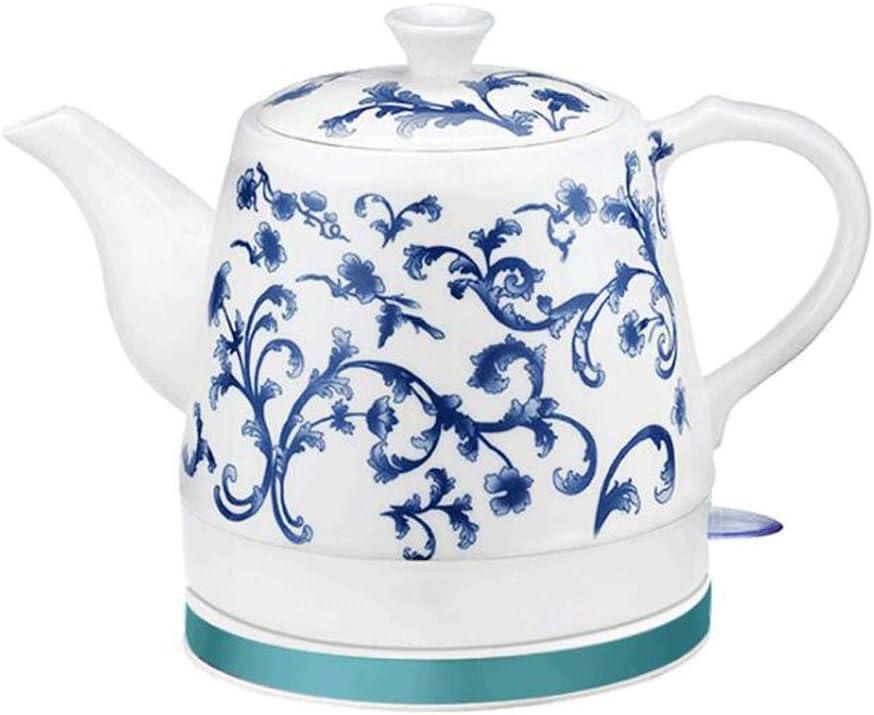 Hervidor eléctrico de cerámica Apagado automático de ebullición rápida China Estilo de Porcelana Azul y Blanca Vintage 1.2L hierve Agua rápidamente