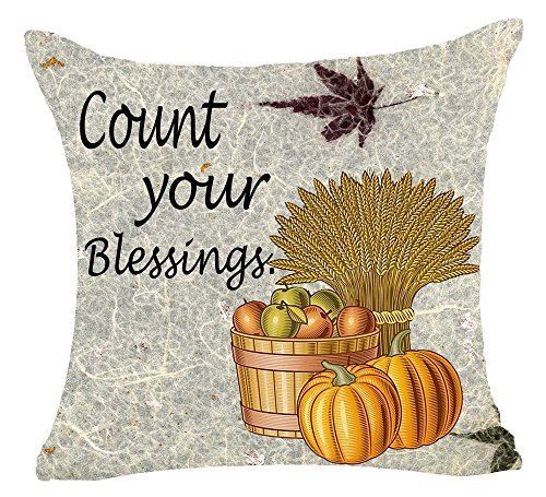 Hand Painted Count Your Blessing Pumpkin Basket Apple Wheat Autumn Maple Leaves Cotton Linen Pillowcase Cushion Cover For Sofa Living Room Office Decorative Throw Pillow Case Cover Square 18X18inch