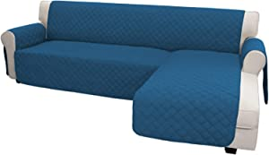 Easy-Going Sofa Slipcover L Shape Sofa Cover Sectional Couch Cover Chaise Lounge Slip Cover Reversible Sofa Cover Furniture Protector Cover for Pets Kids Dog Cat(X-Large,Peacock Blue/Peacock Blue)