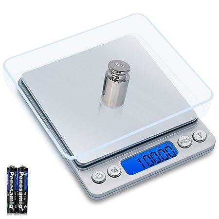 GASON Z1s Báscula Digital para Cocina,Balanza de Alimentos Multifunciona de Alta Precisa 500g/0,01g,Balanza Electrónica con Pesas de Calibración, ...