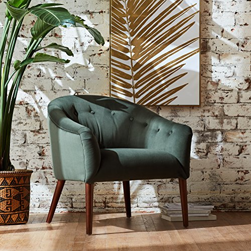 "Rivet Curved Tufted Velvet Accent Chair, Marina Mid-Century, 28.7""W, Hunter Green"