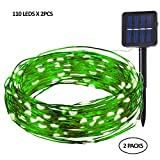 Levizons Solar Outdoor String Lights |110 led x 2PC | Waterproof Decorative Lights | Perfect For Your Patio, Garden, Yard, Parties,Weddings & Holidays | Warm White,Multicolored (Warm white-Green wire)