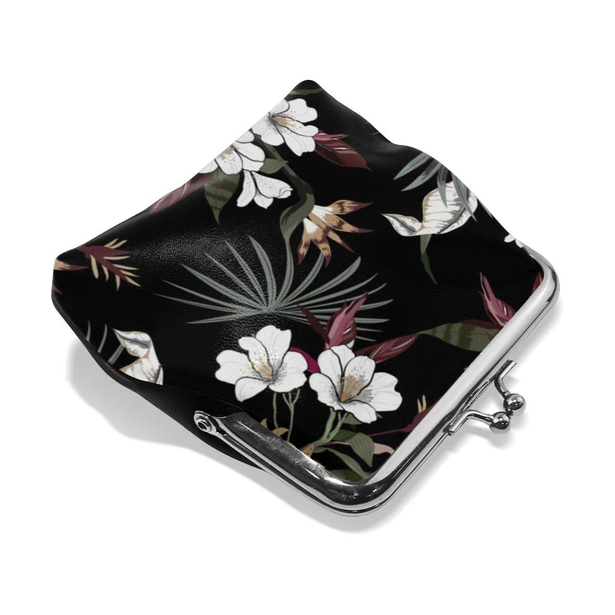 TYDhey Beautiful Artistic Dark Tropical Pattern Classic Buckle Coin Purses Leather Kiss-Lock Change Wallets