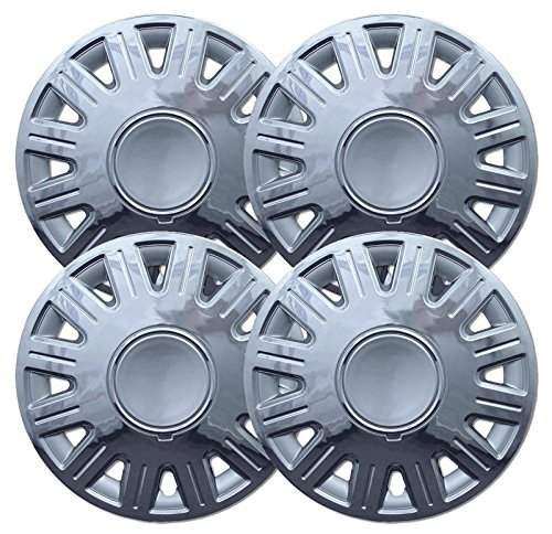 Upgrade Your Auto 16 Wheel Hubcaps Silver Finish W//Chrome Edge Clip-On Style Set of 4 for 2003-2007 Ford Crown Vic