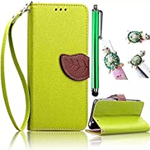 Galaxy S6 Case,Vandot 3 in 1 Set Premium Leaf Style Cover For Samsung Galaxy S6 SM-G920F,High quality PU leather Magnetic Closure Flip Stand Wallet Card Slots Case With Detachable Wrist Strap+Universal Diamond Owl Anti Dust Plug+Stylus Screen Touch Pen-Green