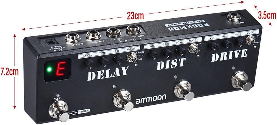 ammoon POCKMON Pedal de Guitarra Tira de Pedales Multiefectos con Sintonizador Distorsión de Retardo Overdrive FX Loop Tap Tempoctos de Guitarra (Multi-Effects): Amazon.es: Instrumentos musicales
