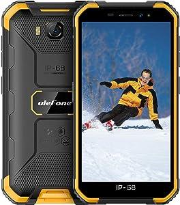 Ulefone Armor X6 Rugged Phones Unlocked,Waterproof Rugged Cell Phones Unlocked 3G Android 9.0 5'' 8MP Camera 2GB +16GB(Extend 128GB) 4000mAh, Face Unlock/Dual SIM/GPS/Glonass/WiFi