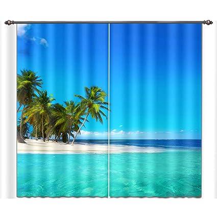 Amazon Com Lb Ocean Decor Room Darkening Blackout Curtains Tropical