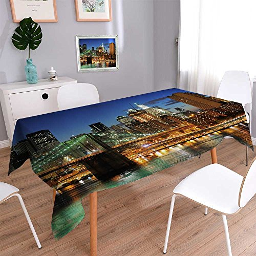 Philiphome Decorative Jacquard Rectangle Tablecloth New York City Brooklyn Bridge Downtown at Night Table Cover for Dining Room and Party 60