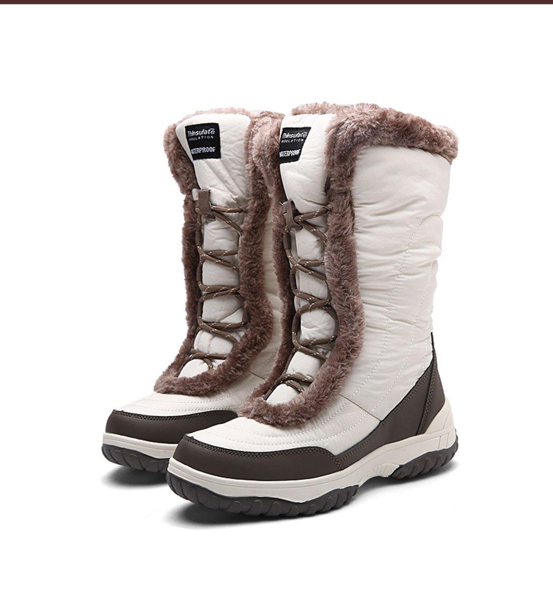 Winter outdoor snow boots women cotton tube waterproof 2017 new flat plus cashmere cotton shoes shoes boots ( Color : White , Size : 5.5 B(M)US )