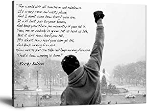 """Inspirational Motivational Wall Art Rocky Balboa Speech Canvas Pictures Boxing Sylvester Stallone Painting Inspiring Quotes Hope Posters Prints Artwork Modern Decor for Office Teens Gifts (30""""Hx40""""W)"""