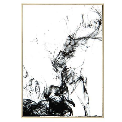 XFkbeA Pintura Abstracta Lienzo de Tinta China Blanca ...