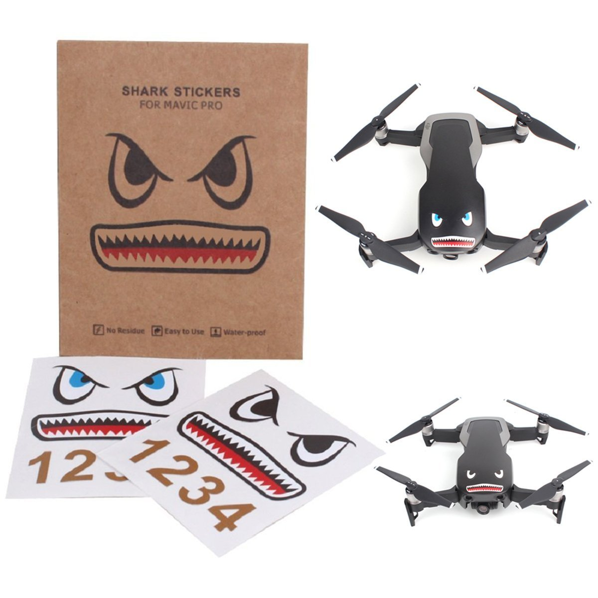 Crazepony-UK Mavic Pro Sticker Decal Skin Guard Battery Number Sticker Shark face Decal Drone Sticker 3M Waterproof DJI Drone Accessories Mavic Air DJI Spark Skin Sticker Decal