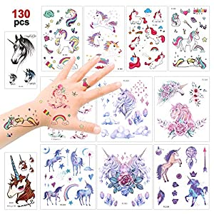 Konsait Unicorn Temporary Tattoos for Girls (130Assorted Glitter Tattoo), Rainbow Unicorn Party Supplies, Great Kids Birthday Party Bag Filler, Girls Party Favors Goody Bag Stuffers Carnival Rewards