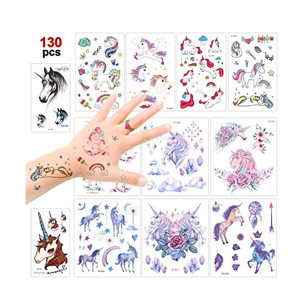 Konsait Unicorn Temporary Tattoos for Girls (130Assorted Glitter Tattoo), Rainbow Unicorn Party Supplies, Great Kids Birthday Party Bag Filler, Girls Party Favors Goody Bag Stuffers Carnival Rewards 3