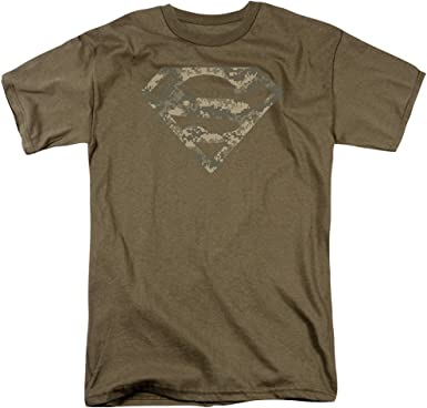 Superman Army Camo Escudo Mens Camisa Manga Corta Verde Safari XL: Amazon.es: Ropa y accesorios