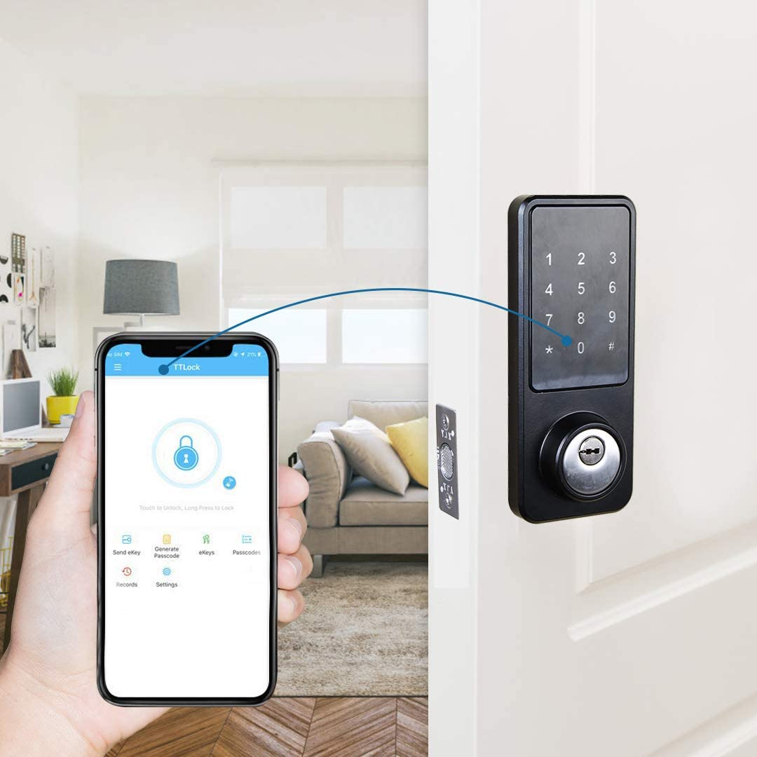 Kingneed Smart Lock, Electronic Front Door Deadbolt, Smart Phone App Unlock, Bluetooth, Code and Fob Entry, Keyless Access, Easy to Install for Airbnb & Vacation Rentals
