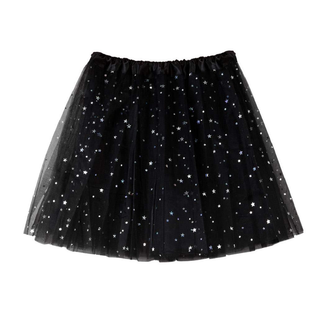 MISYAA Womens Skirts Only Left Sequin Tutu Skirts Ballet Tulle Skirts Multi-Ply Wedding Banquet Mesh Skirts Black