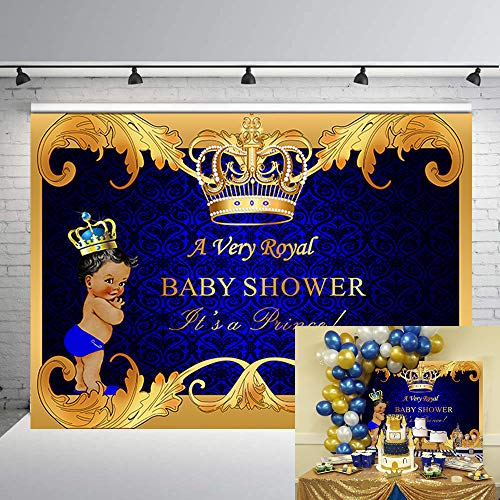 Daniu Royal Prince Baby Shower Backdrop Black Boy Gold Crown Photography Background 7x5ft Party Supplies -