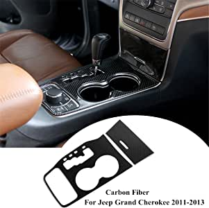 ZTYCKJ For Jeep Grand Cherokee 2014 2015 Interior Accessories Black Real Carbon Fiber Center Console Cup Holder Cover Trim